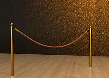 Classic Rope Post in Brass Floor Socket