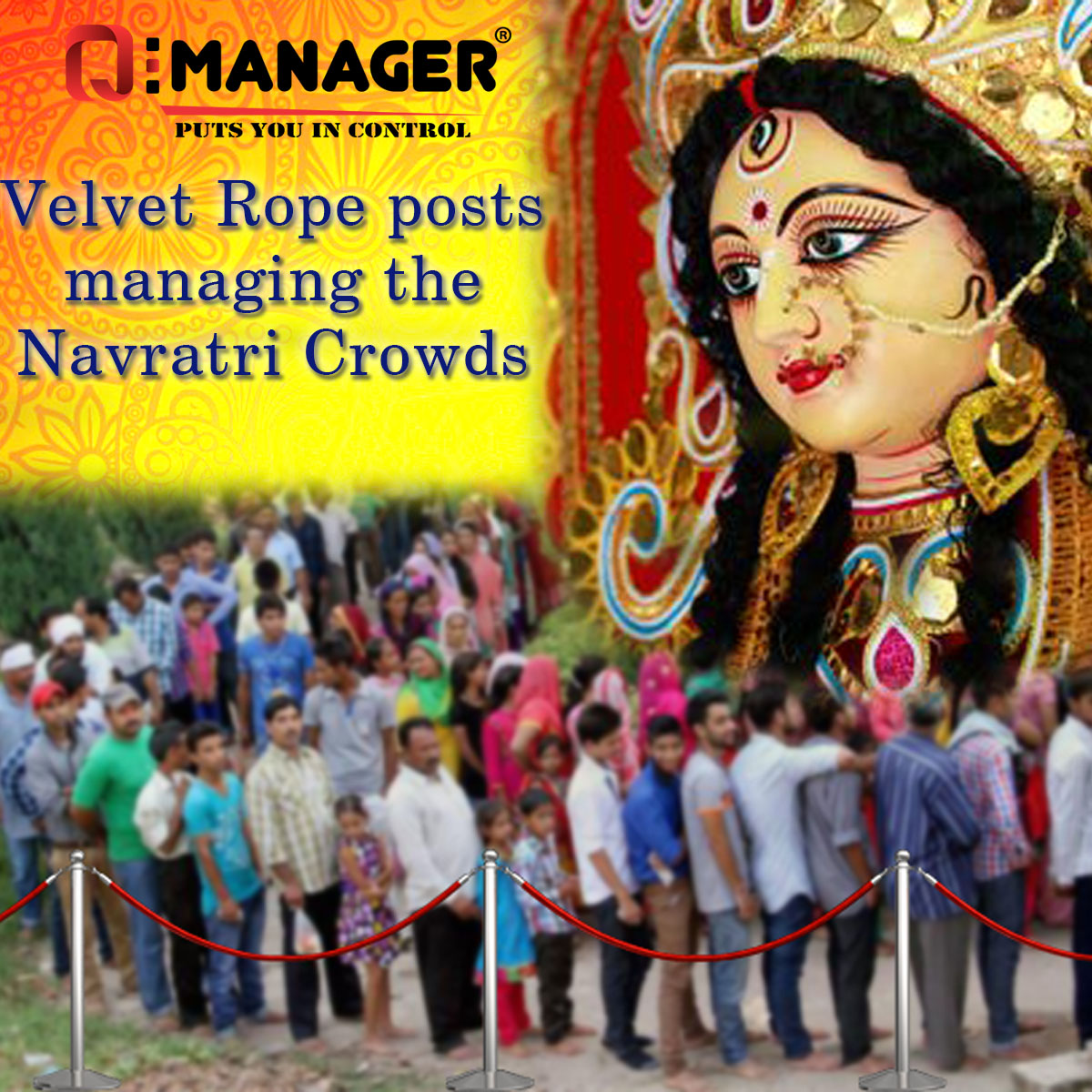 Velvet Rope posts managing the Navratri Crowds