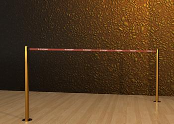 Retractable Double Belt Post in Brass Floor Mount