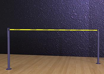 Powder-Coated Retractable Double Belt Post Floor Mount