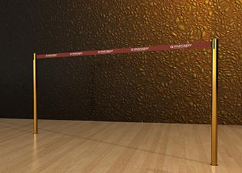 Retractable Double Belt Post in Brass Floor Socket