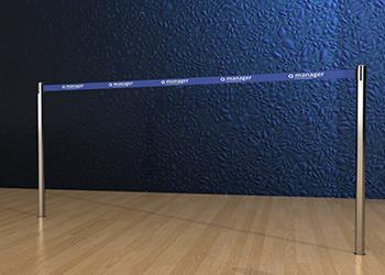 Retractable Double Belt Post in Stainless Steel Floor Socket