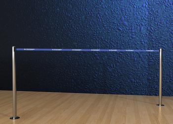 Retractable Double Belt Post in Stainless Steel Floor Mount